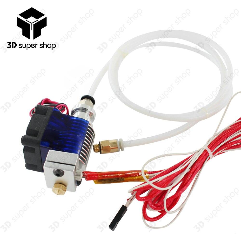 2018 3D impresora j-head Hotend con solo ventilador de refrigeración para 1,75mm/3,0mm 3D v6 bowden filamento Wade extrusora 1 M PTFE tubo Teflon