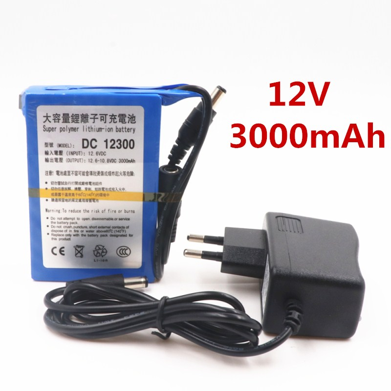 New High Quality DC 12V 3000mAh Li-ion Super Rechargeable Battery Pack with Plug for CCTV Camera Batteries Baterias Bateria
