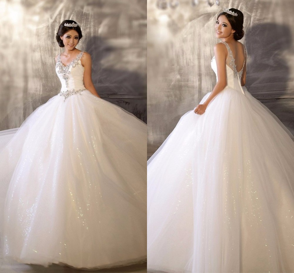 Ball Gowns Tulle Cinderella Wedding Gown 2015 Crystal V neck ...