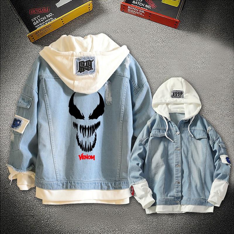 Anime Jeans Coat Movie Venom Superhero Eddie Brock Boy Girls Autumn Casual Jacket Hooded Sweatshirt Unisex Denim Outwear Game