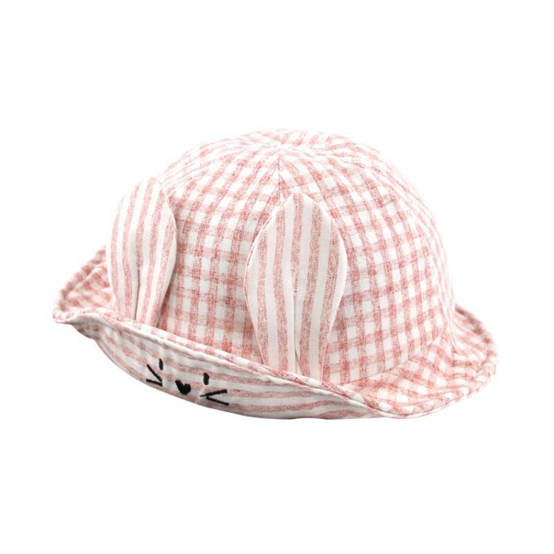 1pc Baby Hat Plaid Pink Wide Brim Baby Sun Hat Cotton Kids Hats Cartoon Print Hat Boys Girls Travel Cap Autumn Cap Warm Attractive Appearance
