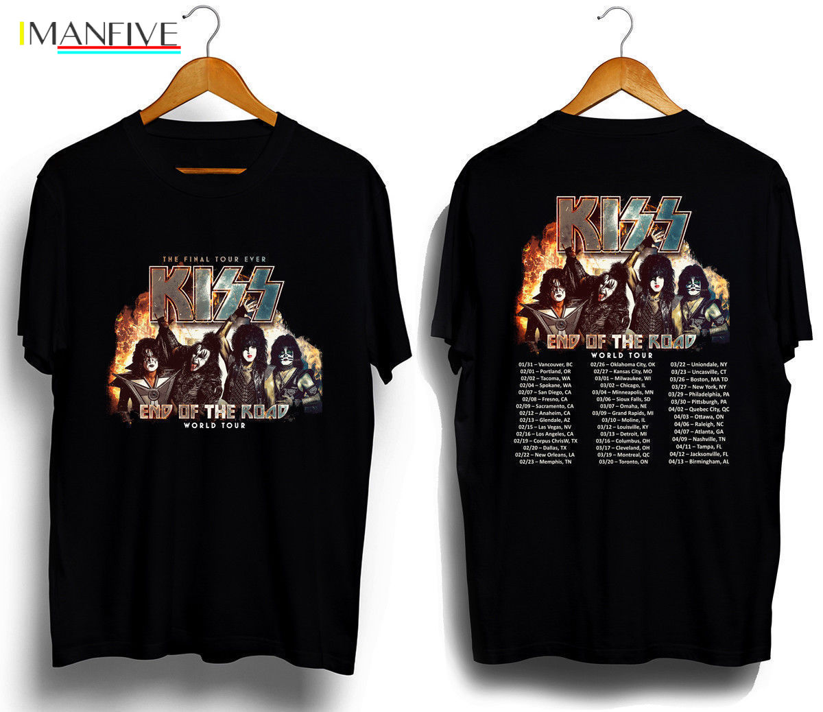 New Kiss Band End of The Road Tour 2019 T SHIRT S 3XL MENS TEE 2SIDE Short Sleeves Cotton T Shirt Fashion in T Shirts from Men 39 s Clothing