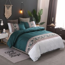 Bohemia style Duvet Cover  plain color pattern retro 2/3pcs Sets Soft Polyester Bed Linen Flat Pillowcase