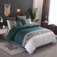Bohemia style Duvet Cover plain color pattern retro style 2/3pcs Duvet Cover Sets Soft Polyester Bed Linen Flat Pillowcase