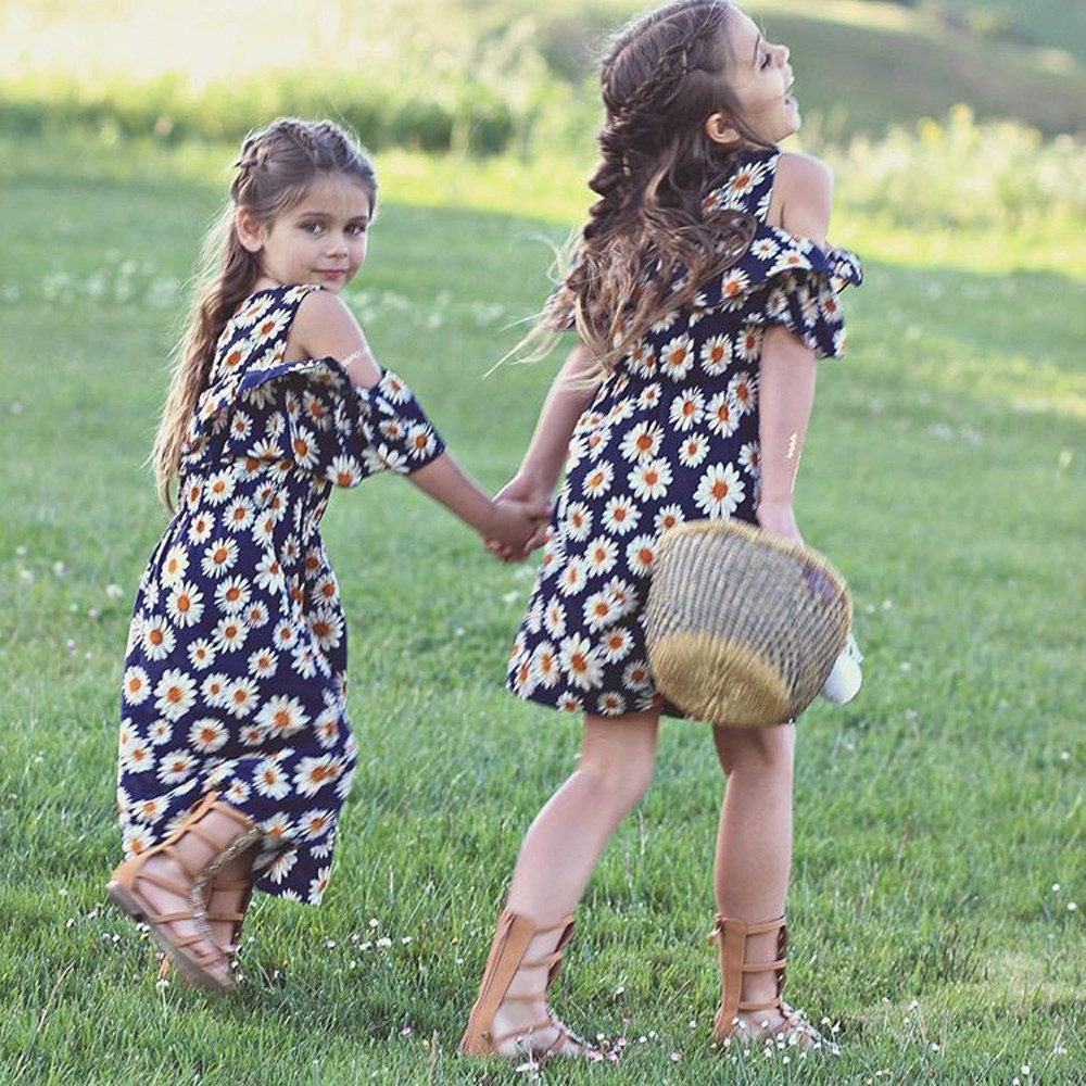 Blue Color Hot Cute Kids Baby Girls Flower Print Fold Sleevesless Princess Dresses Outfits High Quality Dropshipping AG30 18