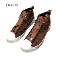 OVXUAN 2019 High Top Sport Loafers Shoes Men Luxury Brand Handmade Totem Street Men Sneakers Fashion Party Men's Dress Shoes