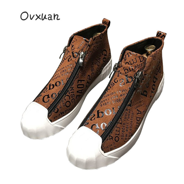 Ovxuan 2018 High Top Sport Loafers Shoes Men Luxury Brand Handmade Totem  Street Men Sneakers Fashion Party Men s Dress Shoes 9c3d7fe5c8bc