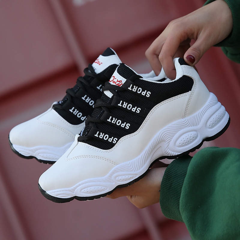 New Leather Running Shoes For Women Breathable White Black Sneakers Women Lace Up Light Shoes Woman Sport Outdoor Walking Shoes