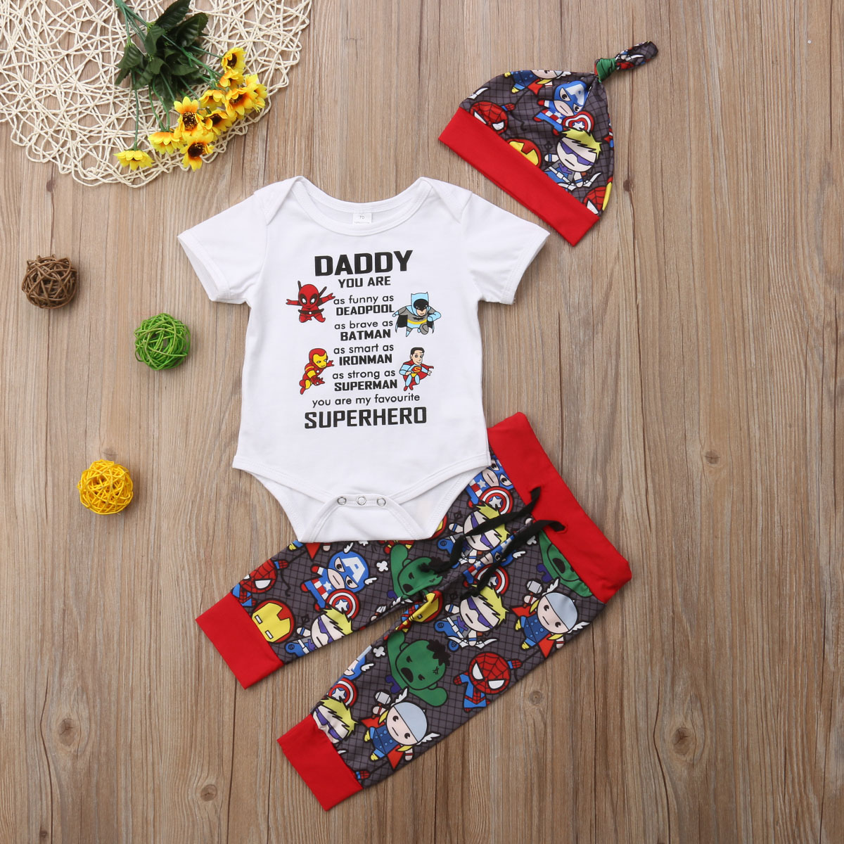 USA Newborn Baby Boys Girls Avengers Superhero Bodysuit Sets Pants Outfits Set Clothes