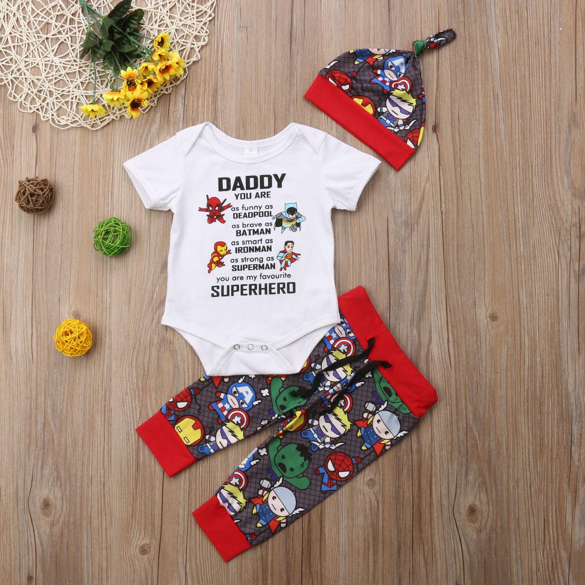 USA Newborn Baby Boys Girls Avengers Superhero Bodysuit Sets Pants Outfits Set Clothes