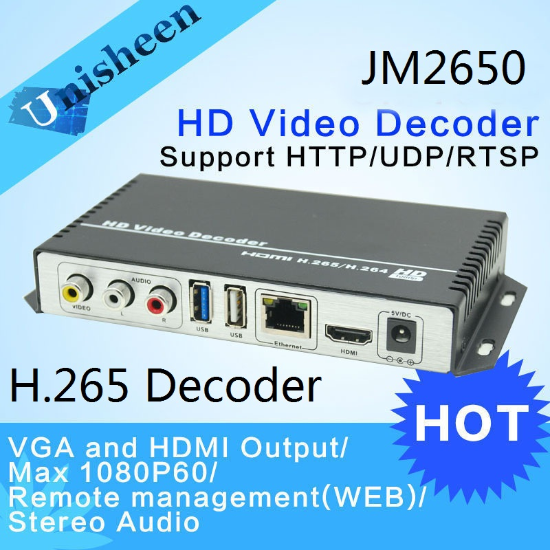 H.265 H.264 Decoder Replace VGA output repleace topbox transmitter IP encoder decoder