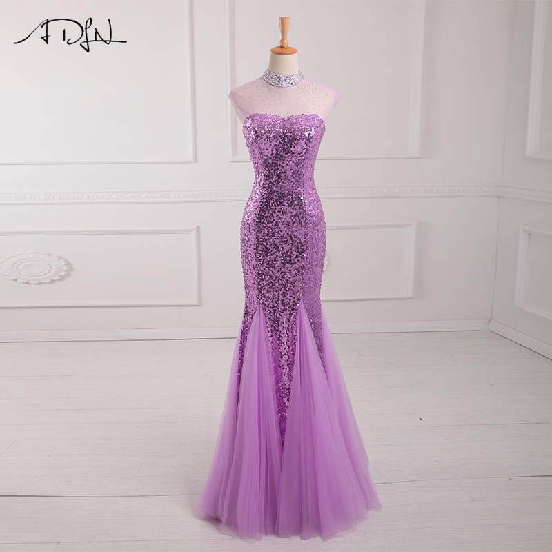 ADLN Luxury Halter Sleeveless Sequin Prom Dresses Floor Length Beaded Mermaid Evening Gowns