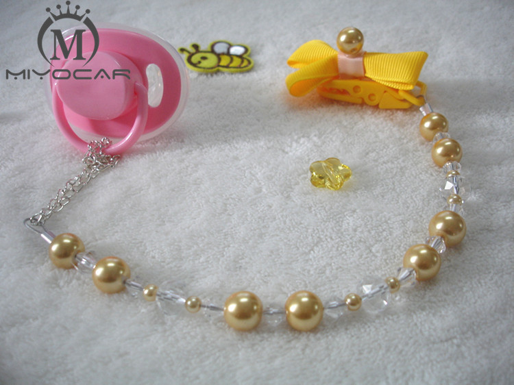 MIYOCAR Πριγκίπισσα κίτρινες χάντρες από μαργαριτάρι χειροποίητα κολάρα πιπίλα / πιπίλα αλυσίδα κάτοχος Dummy clip / Teethers κλιπ για μωρό