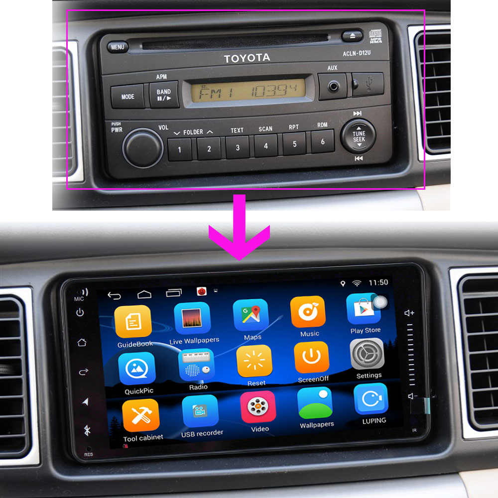 2 DIN Car DVD GPS for Toyota Terios Old Corolla Camry Prado RAV4 Universal radio wifi Capacitive 7 inch 200*100mm Android player