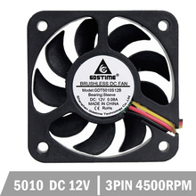 DC 5010 Mini Cooling Fan Mute Black 12V 2Pin  50x50x10mm 50MM 5CM Freight free (10pcs/set)