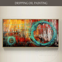 Modern Wall Art Abstract Oil Painting for Decor Artist Hand-painted Circle on Canvas Big