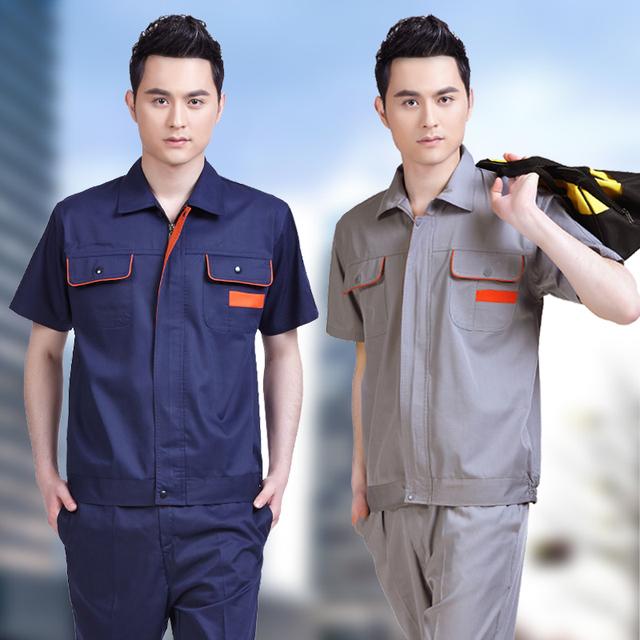 Verano corto-manga de trabajo ropa de trabajo conjunto masculino ropa de trabajo ropa de protección ropa de trabajo