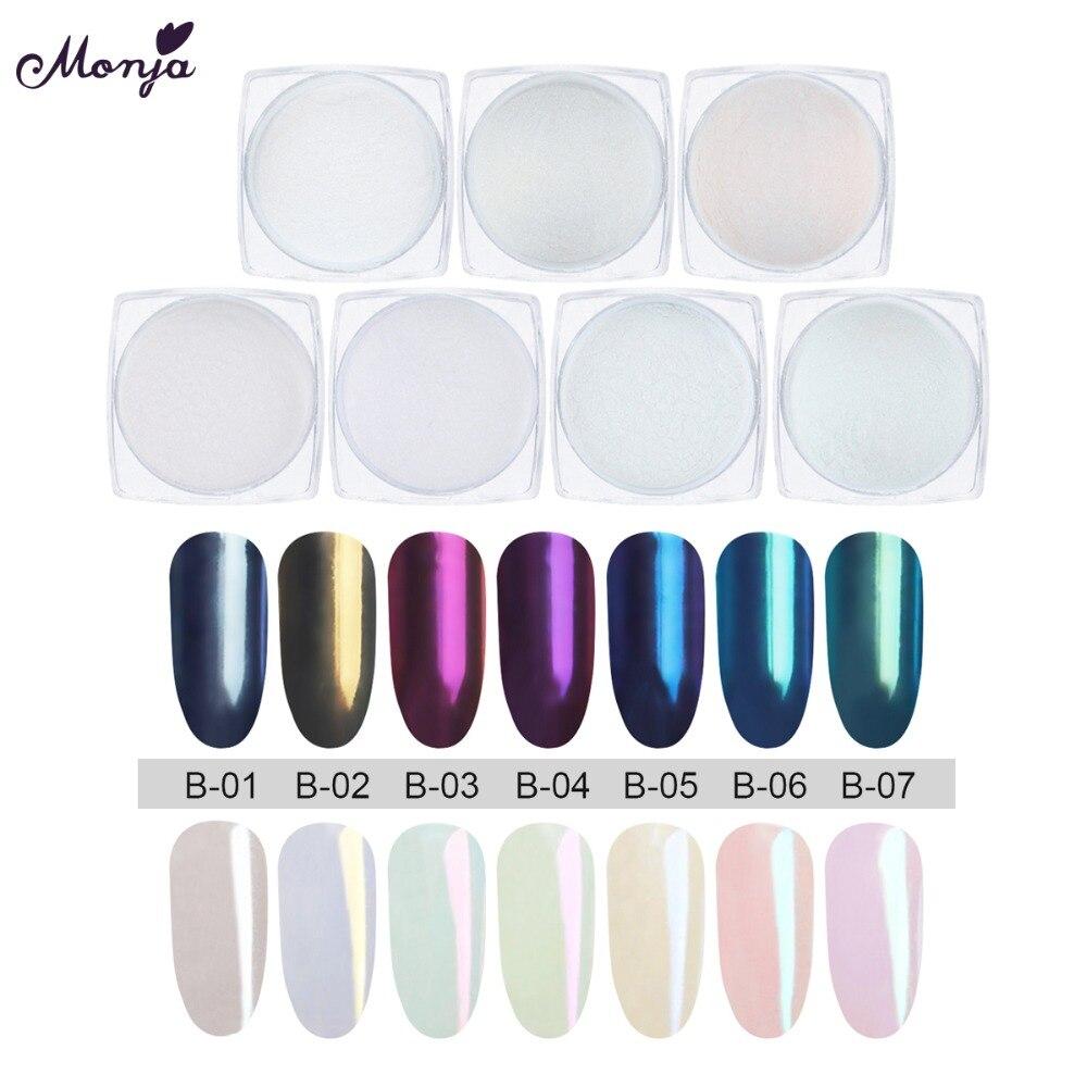 Nagelglitzer Monja 1g Nail Art Glitter Chrome Bunte Pigment Magie Spiegel Wirkung Pulver Dekoration Maniküre Werkzeug