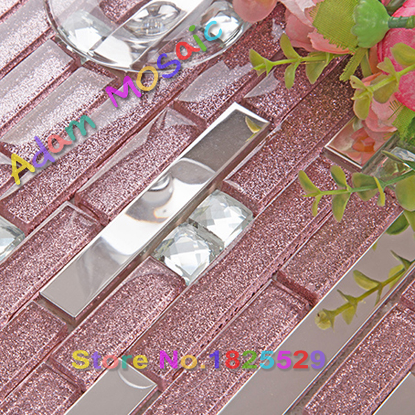 Purple Mosaic Tiles Strip Backsplash Kitchen Tiles Mirror Silver Stainless Steel Tile Bathroom