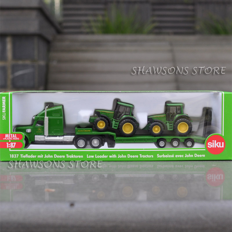 Truck Trailer Toys Tractors 1:87 Scale Model Farm Transporter Kids Diecast Metal