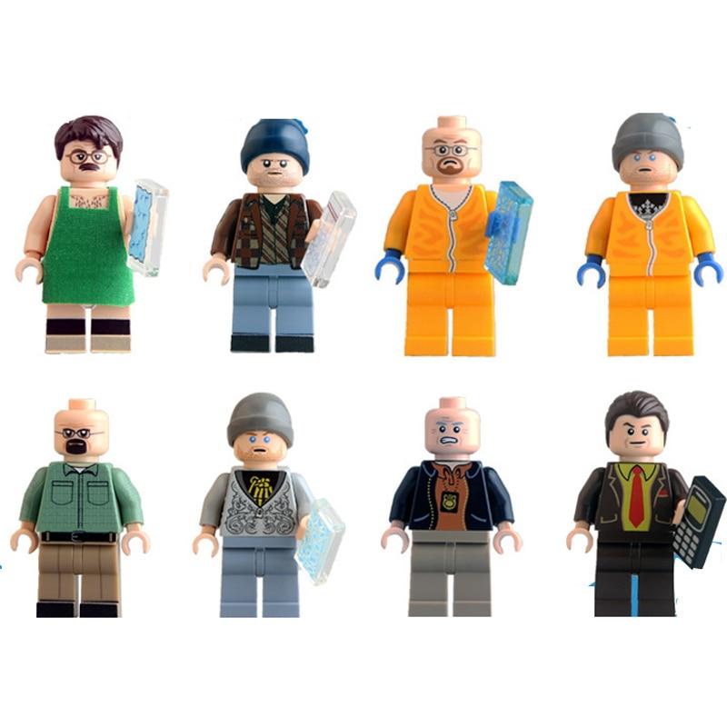 8PCS Building Blocks <font><b>Breaking</b></font> <font><b>Bad</b></font> <font><b>Figures</b></font> Walter White Badger Hank Schrader <font><b>Saul</b></font> <font><b>Goodman</b></font> <font><b>Action</b></font> Bricks Children Gift Toys 9009