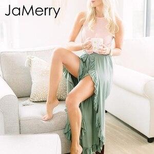 Image 2 - JaMerry 2019 винтажные расклешенные брюки с оборками Женские Асимметричные с высокой талией однотонные повседневные Модные брюки ретро широкие женские брюки