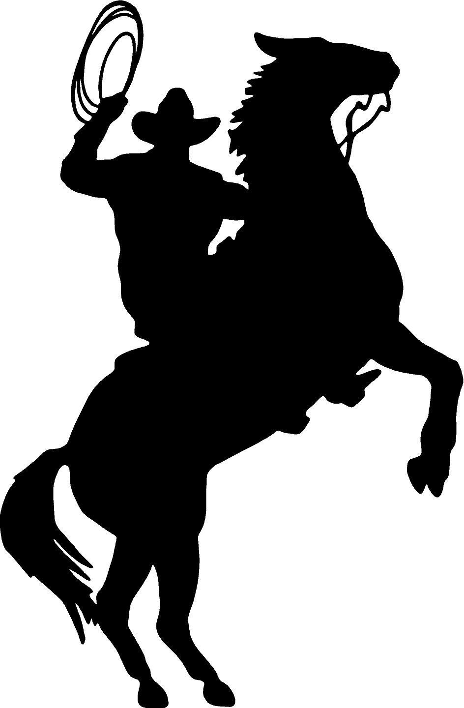 Cowboy Horse Rider Western Wall Decal Home Decor Silhouette Large 20 X 13 Romoveable Pvc Sticker Home Decoration
