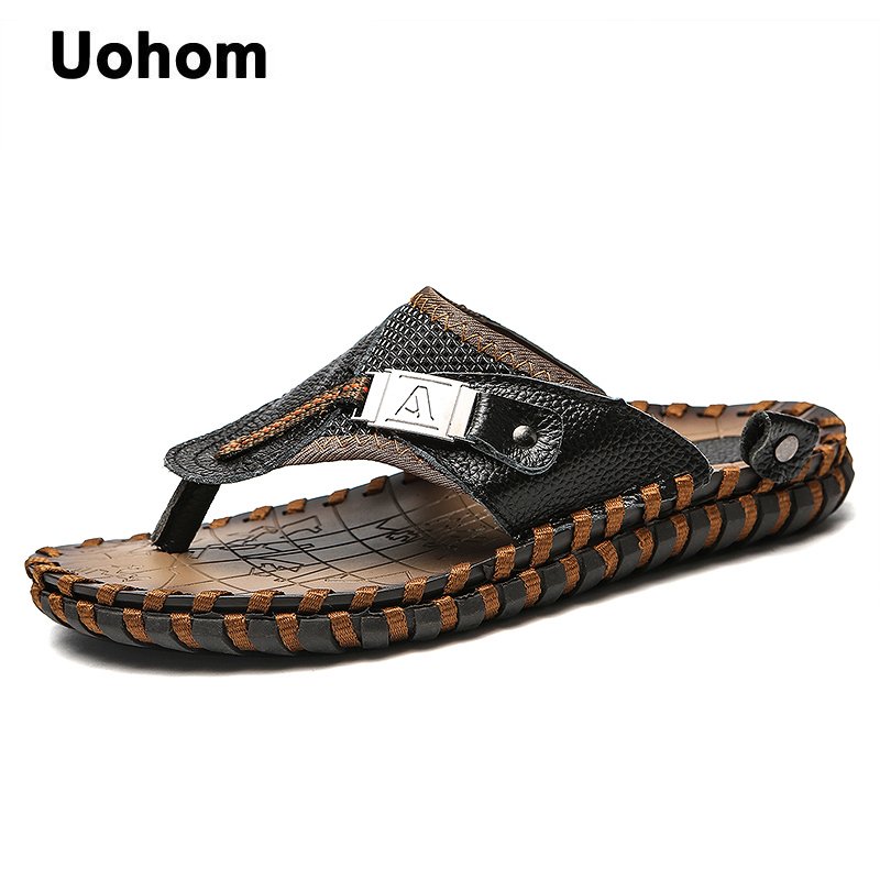 Uohom Brand Summer Beach Men Flip Flops Genuine Leather Slippers Male Flats Sandals outdoor Thong Beach Shoes Plus Size 38-48