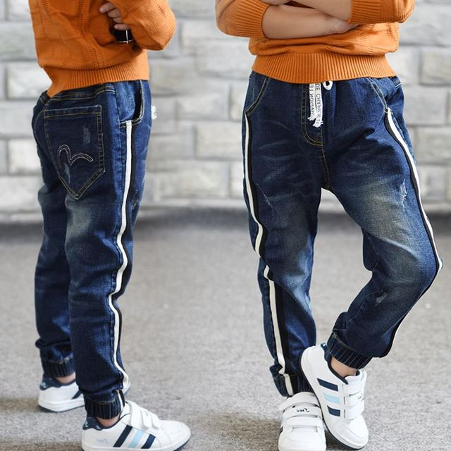 Tracksuit Styled Denim Pants for Boys with Elastic Waist