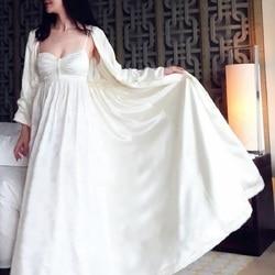 Осеннее женское шелковое атласное длинное платье с вышивкой и длинным рукавом, 2- Pics, Элегантное зимнее ночное белье C030