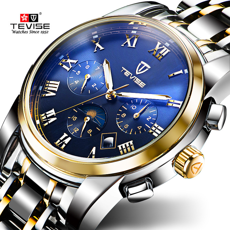TEVISE Men Watch Mechanical Automatic Self-Wind Stainless Steel Moon Phase Complete Calendar Wristwatches Auto Date Montre 9005 tevise men automatic self wind gola stainless steel watches luxury 12 symbolic animals dial mechanical date wristwatches9055g