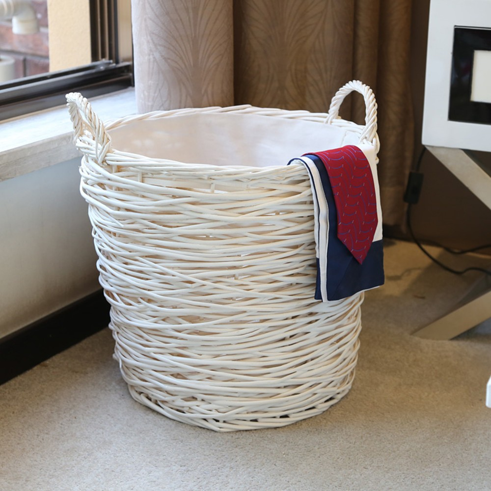 Home Storage Organization Laundry Basket Hamper Handmade Woven Wicker Round Laundry Sorters Basket for Clothes cesto
