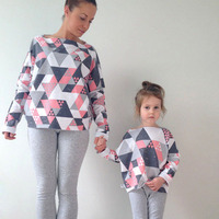 Mom and Kids Dress European and American Dress Geometric Printing Mother daughter Long Sleeve Clothes Family Matching Outfits