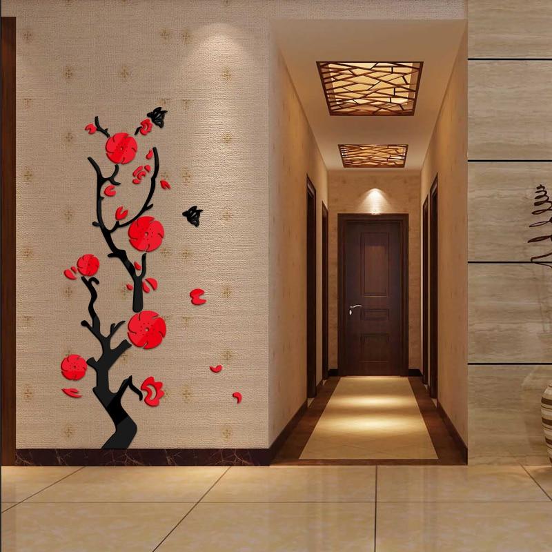 0f8586e9d4f452 Gorąca sprzedaż naklejki ścienne akrylowe lustro naklejka do zrobienia w  domu dekoracji wnętrz 3d naklejki salon nowoczesny piękne kwiaty projekt