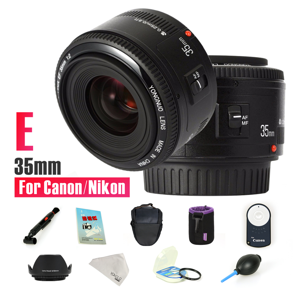 YONGNUO YN35mm F2 lens Wide angle Fixed DSLR camera Lens for nikon canon + 9 Gift Kits