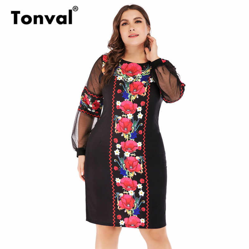 78b2dd8f9a Detail Feedback Questions about Tonval 6XL Office Red Plus Size Midi ...