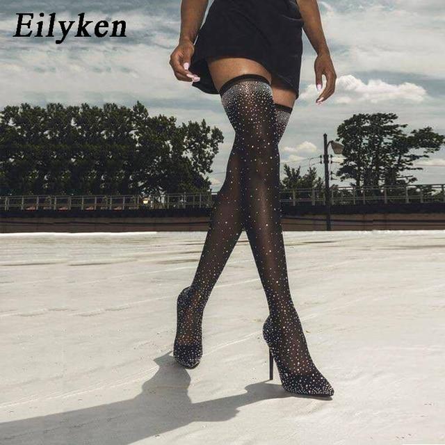 Eilyken 2019 Desfile de Moda de Cristal Tecido Stretch Meia Botas Pontudas Toe Over-the-Knee Coxa Salto Alto Apontou bota Mulher do dedo do pé