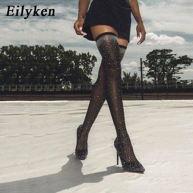 Eilyken 2019 moda pasarela cristal elástico tela calcetín botas punta puntiaguda sobre la rodilla talón muslo alto punta dedo del pie para mujer