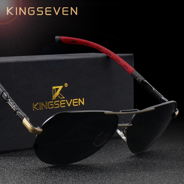KINGSEVEN Men Vintage Aluminum HD Polarized Sunglasses Classic Brand Sun glasses Coating Lens Driving Shades For MEN