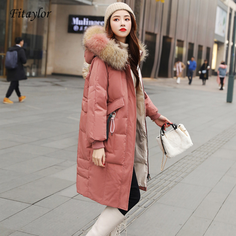 Fitaylor Large Natural Raccoon Fur Jacket Winter Women Duck Down Long Parkas Female Slim Hooded Pockets Thick Warm Down Coat