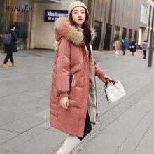 Fitaylor grande veste en fourrure de raton laveur naturel hiver femmes duvet de canard Long Parkas femme Slim à capuche poches épais chaud manteau