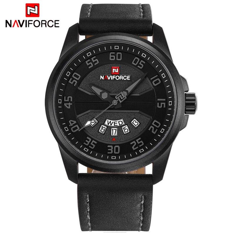 Marca de Luxo Relógio de Quartzo Militar do Exército Relógio de Pulso Naviforce Moda Masculina Relógios Casuais Homem Pulseira Couro Esportes Nf9124
