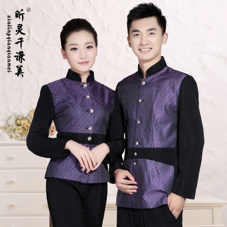 Automne hiver hôtel uniforme serveuse uniformes Restaurant restauration rapide café avec manches longues vêtements de travail J066
