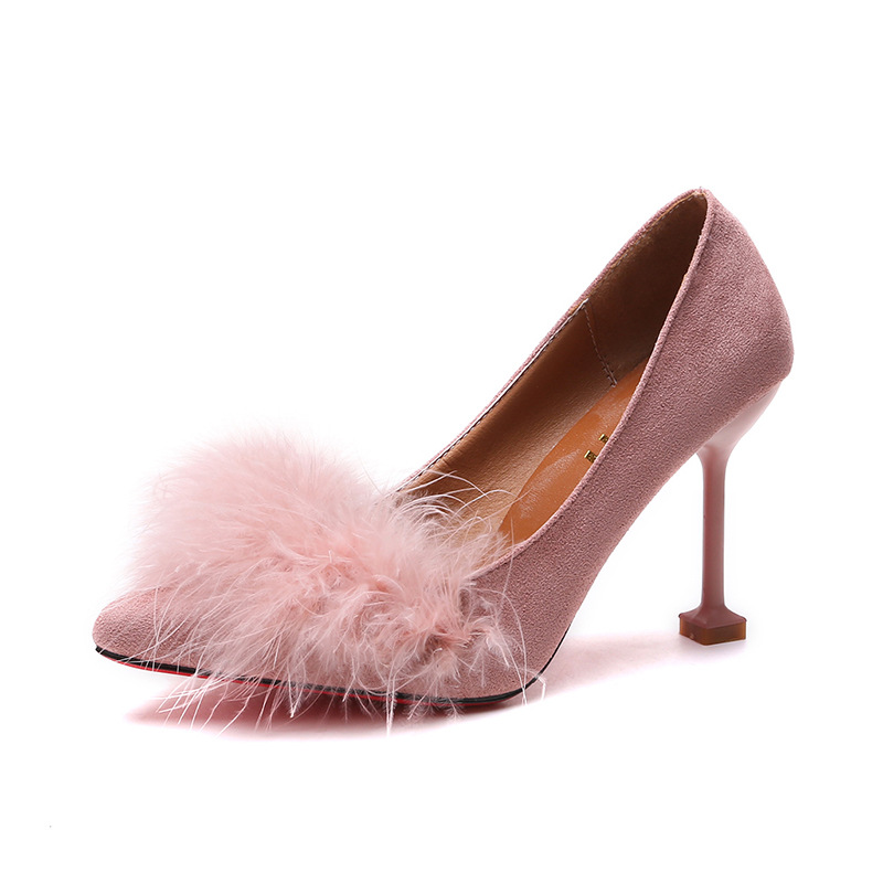 Single shoes female spring and autumn new suede pointed shallow mouth stiletto heels fashion women 39 s shoes women 39 s wool shoes in Women 39 s Pumps from Shoes