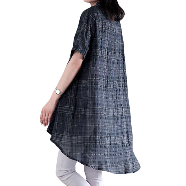 5XL Plus Size Womens Clothing Fashion Women Plaid Loose Dress Stand Collar front Buttons Short Sleeve Irregular Plus Size Dress