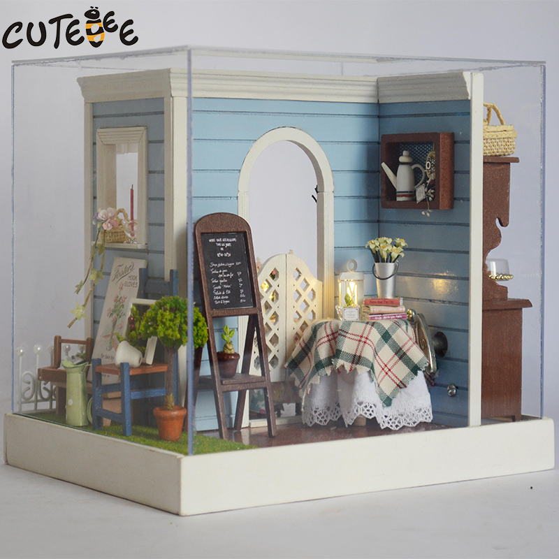 CUTEBEE Doll House Miniature DIY Dollhouse With Furnitures Wooden House  Toys For Children Birthday Gift  Sweet Bakery Z002