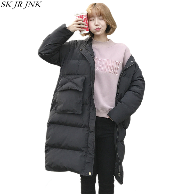 2017 Winter Hooded Warm Padded Jacket Fashion Casual New Women Wadded Parka Loose Cocoon Long Coat Plus Size Cotton Parka HCY84 winter thickening women parkas women s wadded jacket outerwear fashion cotton padded jacket medium long loose casual parka c1142