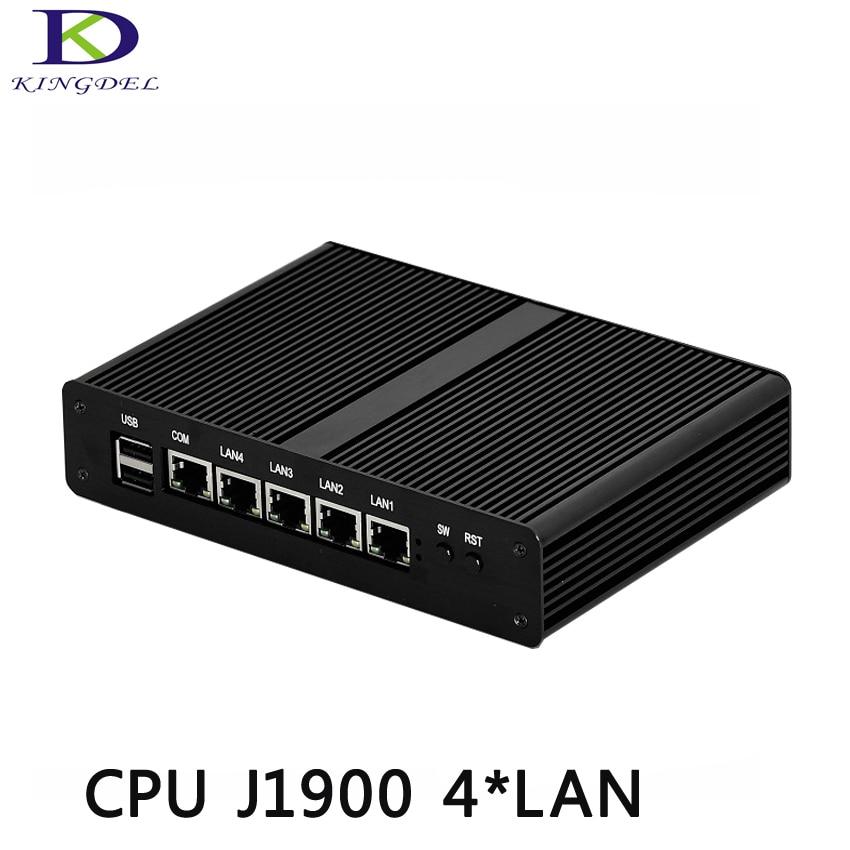 Hot Selling Quad Core Mini PC Small Computer 4*LAN Micro PC Fanless Nettop Mini Desktop PC Celeron J1900 TV Box 2*USB VGA  HTPC
