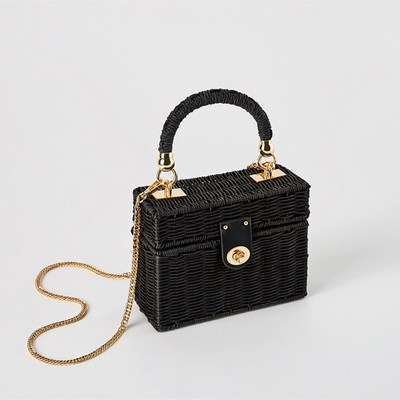 Fashion 2018 Black color Bali Island Hand Woven Bag buckle Rattan Straw Bags Satchel Wind Bohemia