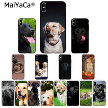 MaiYaCa funny Black White labrador dog Black Soft Shell Phone Cover for Apple iPhone 8 7 6 6S Plus X XS MAX 5 5S SE XR Cover(China)